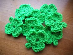 Shamrock Crochet Pattern. This makes a cute 4 leaf clover too. Instead I'd chaining 3 to start I use a magic ring. Then make 4 leaves.