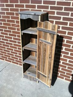 "Reclaimed Wood Pantry Cupboard with 4 shelves. Can be painted in any color you choose, and can also add an add'l shelf at no extra cost. ★I am absolutely Lovin' this piece!!★ Sold on Etsy from Unlimited Woodworks....""Click the pic"" to visit their shop and browse through TONS of reclaimed wood pieces; everything from frames to furniture!! ♥♡♥  http://www.etsy.com/listing/89426181/wood-cupboard-wooden-pantry-with-4"