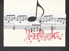 4 hand made music themed Thank You cards by janylane on Etsy, $4.00
