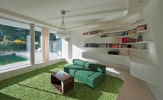 modern interior design with curved bookshelf