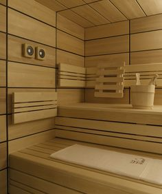I kinda like saunas for inspiration for tiny spaces....just add windows and light. Sauna-Rückenlehne zum Einhängen! (Comfort - Helo GmbH)