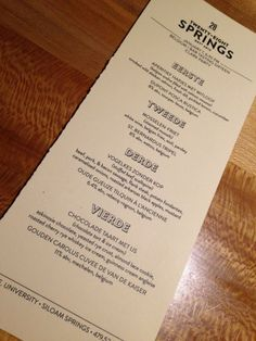 28 springs in Siloam Springs- our dinner menu- you guys have to eat here!