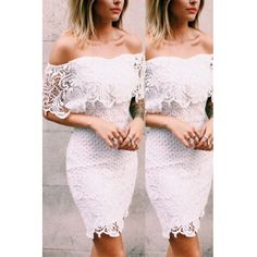 USD10.99Sexy Bateau Neck Off The Shoulder Short Sleeves Embroidery Hollow-out White Polyester Sheath Mini Dress