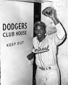 Jackie Robinson (Age 28) wearing the uniform of the Montreal Royals just before he was signed by the Brooklyn Dodgers in 1947