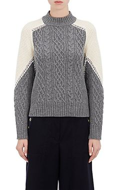 Sacai Colorblocked Cable-Knit Sweater - Sweaters - 504710187