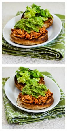 Slow Cooker Sriracha-Pineapple Barbecued Chicken Sandwiches with Easy Guacamole  [Featured on SlowCookerFromScratch.com] #CrockPot #ChickenDinner #SlowCookerFromScratch