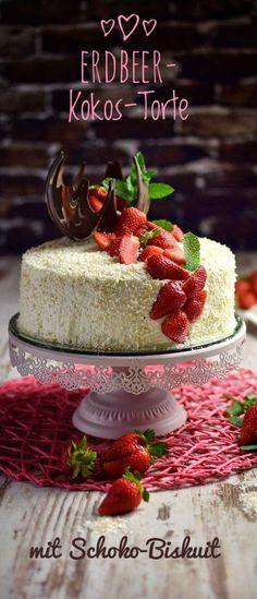 Leckere Kokostorte mit Erdbeeren und einem Schokobiskuit. Wie immer ein sehr ausführliches Rezept. Eine leckere Torte für den Sommer oder Frühling.