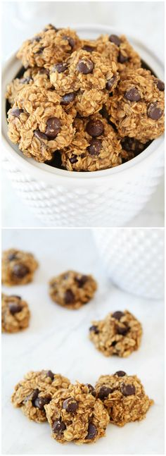 Gluten-Free Vegan Banana Peanut Butter Chocolate Chip Cookies on twopeasandtheirpod.com We love these healthy cookies!