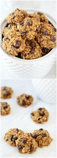 Gluten-Free Vegan Banana Peanut Butter Chocolate Chip Cookies on twopeasandtheirpod.com We love these healthy cookies!