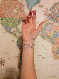 World Map Wrist Tattoo...to remind myself that there is so much more to see and experience beyond my here and now