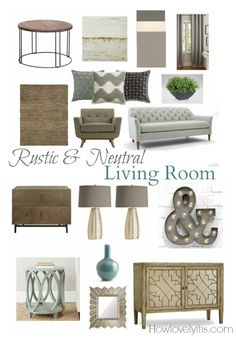 Rustic & Neutral Living Room Mood Board | How Lovely It Is