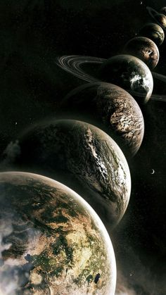 Planets Lined Up – Galaxy Art Wallpaper Earth, Planets Wallpaper, Wallpaper Space, Dark Wallpaper, Galaxy Wallpaper, Galaxy Space, Galaxy Art, Home Bild, Cosmos Tattoo