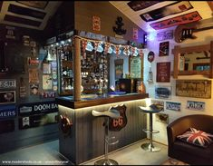 Garden room man cave Pub/Entertainment from Garden owned by Iain Weetman Man Cave Garage, Garage Pub, Man Cave Shed, Man Cave Home Bar, Diy Home Bar, Home Pub, Bars For Home, Bar Interior, Garden Bar Shed