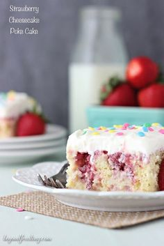 This Strawberry Cheesecake Poke cake is similar to a tres leches cake. The vanilla cake is filled with sweetened condensed milk and it's topped with a fresh strawberry sauce and cream cheese whipped cream.