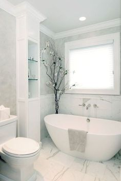 small bathroom 422423640034434540 - 38 Amazing freestanding tubs for a bathroom spa sanctuary Source by jjkappers Bathroom Spa, Bathroom Renos, Bathroom Storage, Master Bathroom, Bathroom Ideas, White Bathroom, Neutral Bathroom, Budget Bathroom, Bathroom Shelves