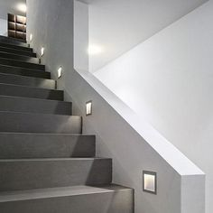 The Zen In M wall recessed light was designed and made by Nimbus in Germany. This modern LED fixture is an efficient and elegant lamp that is perfectly suitable for near-ground installation for any use home or office. The light output of the Zen I. Interior Staircase, Staircase Remodel, Stairs Architecture, Staircase Design, Modern Stairs Design, Open Basement Stairs, Open Stairs, Office Under Stairs, Narrow Staircase