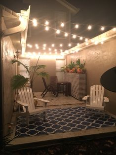 We had a weird private patio outside our master bedroom (built in the think it was a smoker area) and finally figured it something to do with it. Added some lights, a massive planter and voila! Patio Planters, Diy Patio, Backyard Patio, Patio Ideas, Outdoor Patios, Balcony Ideas, Outdoor Ideas, Backyard Ideas, Garden Ideas