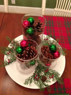 Simple Christmas centerpiece using things I had at home.