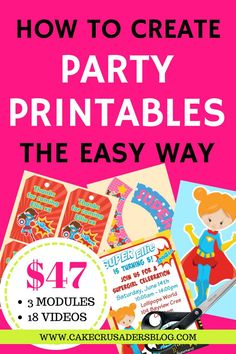 Learn how to make your own party printable for your kids birthday parties. Easy and fun to make Birthday Party At Home, Party Favors For Kids Birthday, Birthday Party Celebration, Superhero Birthday Party, Kids Party Games, Boy Birthday Parties, Third Birthday, Birthday Ideas, Mickey Mouse Party Decorations