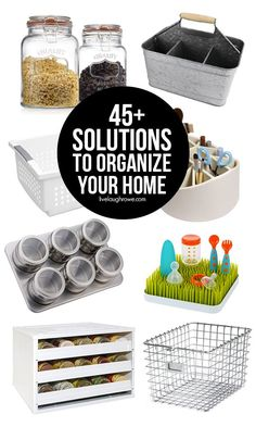 Rid yourself of clutter in the New Year with these 45 solutions to organize your home. This list includes ideas for every room of the house, from your closet to kitchen. Clutter Organization, Home Organization Hacks, Organizing Your Home, Organizing Tools, Organising, Organized Mom, Getting Organized, Cleaning Hacks, Helpful Hints