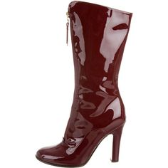 Valentino Patent Leather Round-Toe Boots (4 015 SEK) ❤ liked on Polyvore featuring shoes, boots, burgundy, round toe boots, zip shoes, burgundy patent leather boots, zip boots and round toe shoes