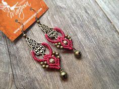 Macrame earrings Fatima Hand hamsa antique by MariposaMacrame