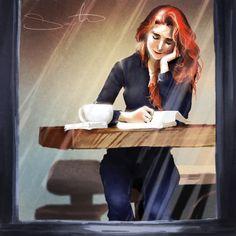 woman reading - Coffee break by Samantha Dodge