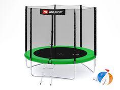 Trampolina Hop-Sport 8ft (244cm) zielona z siatką zewnętrzną Sports, Hs Sports, Sport