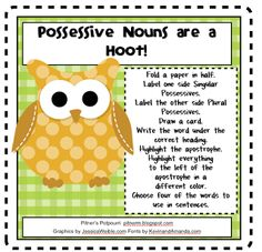 Hoot Owl Possessives - Freebie