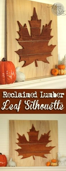 An easy way to create a large statement piece for a wall or mantel. Using reclaimed wood (like barnwood or old pallet wood) cut out an oversized silhouette with a jig saw. Attach the boards to a backer board and you have instant artwork! Pallet Wood, Wood Pallets, Pallet Ideas, Wood Ideas, Diy Ideas, Decor Ideas, Fall Crafts, Diy And Crafts, Wood Projects