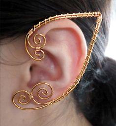 Golden Ouchless Elven Ear Cuff Wrap Earring by alyssblackapparel, $15.00