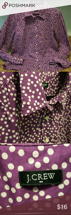 J.CREW Long Sleeve Lightweight breezy cotton in a purple and white graphic polka dot print. Simple, straight hem that looks great open with layers. Three buttons at cuffs. Size tag missing. Nice condition. I ship fast! J. Crew Tops Button Down Shirts