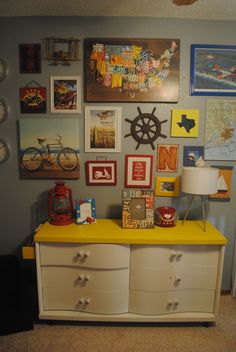 {Shared} Boys Room -- Gallery Wall, love the idea of this filling it with things they love at the time - animals, etc.