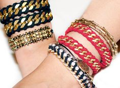 DIY Rope Wrapped Chain Bracelet #DIY
