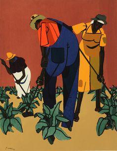 """Tobacco Farms,"" an original color serigraph by Robert Gwathmey (1903 - 1988) ~ Courtesy Tacoma Art Museum"