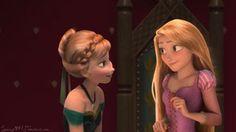 Anna and her mother~ Rapunzel Edits, Princess Rapunzel, Disney Princess, Frozen And Tangled, Disney Frozen, Disney Decendants, Disney Crossovers, Disney Fanatic, Queen Elsa