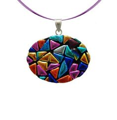 "Sterling Silver 925 Dichroic Glass Rainbow Mosaic Oval on Stainless Steel Wire Pendant Necklace, 18"" Amazon Curated Collection. $19.00. Made in Mexico"