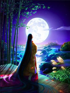 """Kaguya tells the old foster-parents who found her in a bamboo thicket and have brought her up with lots of love; """"I am not a common human being in this world. I am a Moonian. I came down from the Moon as I was destined to. And now it's time for me to return home.My compatriots are coming for me on the night of next Full Moon. I must go with them. I've been in sorrow since last spring to think that you will grieve over my leaving."""""""