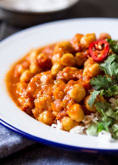 chana masala indian chickpea curry close up