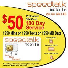 Preloaded $50 Prepaid GSM SIM Card Rollover 1250 Minutes Talk Text Data 180-Day Wireless Service