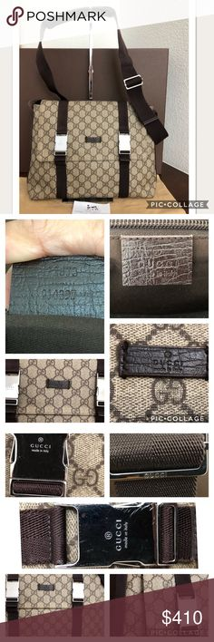 384eb634f3f9 Gucci Messenger Bag in Coated PVC shows some wear on the corner