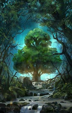Kingdoms of a new world playing cards bring you into a rich fantasy landscape ruled by four distinct kingdoms. Take in the captivating scenery of their lands and the beauty and power of their monar… Fantasy Places, Fantasy World, Fantasy Forest, Forest Art, Magical Forest, Fantasy Trees, Fantasy Fairies, Magical Tree, Fantasy Life