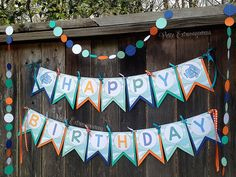 Rainbow Fish Birthday Banner - Aqua, Orange, Blue, Teal, Pearl White  Under the Sea Boys Birthday Invitations Fishing Birthday Invitation Aqua, Orange, Blue, Teal Party Decor
