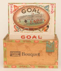 Goal Cigar Box with Goal Football logo on outside and beautiful litho label on the inside showing scene of a football game. Box and labels are in wonderful condition with bright and sharp colors. Goals Football, Wooden Cigar Boxes, Vintage Typography, Vintage Tins, Tin Toys, Fun Games, Cigars, In The Heights, Decorative Boxes