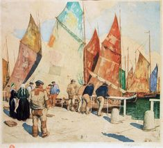 Tavik František Šimon: the Graphics from 1912-1920. Fishermen in Concarneau, Brittany