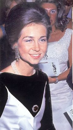 HM Queen Sofia of Spain (then Princess Sofia) wearing a beautiful pair of diamond earrings, a three strands pearl necklace and a diamond and (possibly) sapphire brooch.