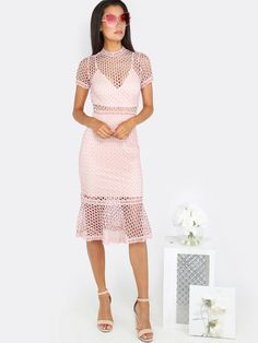 Crochet+Mesh+Flare+Dress+BLUSH+30.90
