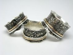 Leaf Pattern Sterling Silver and 10k gold Spinner Ring $120 from janiceartjewelry on etsy
