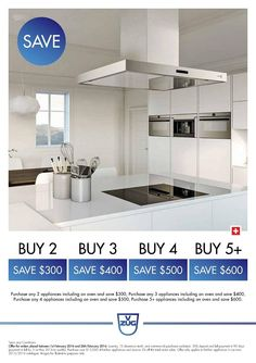 SAVE on all our NEW 2015/16 V-ZUG Kitchen Appliances*  Purchase any TWO (2) V-ZUG kitchen appliances and SAVE $300 OFF RRP* Purchase any THREE (3) V-ZUG kitchen appliances and SAVE $400 OFF RRP* Purchase any FOUR (4) V-ZUG kitchen appliances and SAVE $500 OFF RRP* Purchase any FIVE+ (5 or more) V-ZUG kitchen appliances and SAVE $600 OFF RRP* - In addition - Purchase over $15,000 of any Kitchen Appliances and SAVE an additional 5% OFF* the discounted total after the above savings are applied.