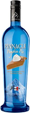 Pinnacle Pumpkin Pie Vodka. Try a Spiced Pumpkin--2 parts Pinnacle® Pumpkin Pie Vodka, 1 part Irish cream, splash half & half. Shake with ice, strain into a cinnamon-sugar rimmed martini glass and top with whipped cream.  OMG!